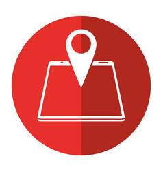 smartphone pin map location gps shadow vector image