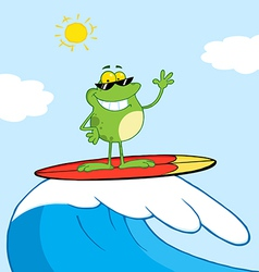 Surfer Frog Riding A Wave vector image vector image