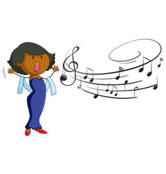 Woman singing on white background vector