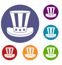 american hat icons set vector image vector image