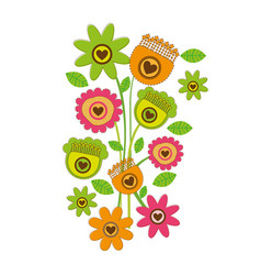 color background with bouquet of retro flowers vector image