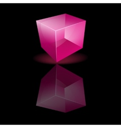 Pink glass cube on a smooth surface vector image