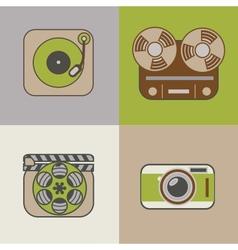 Retro flat arts icon vector image vector image