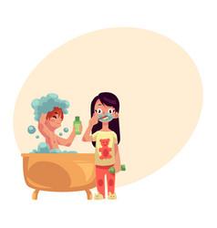 boy taking bath washing hair girl in pajamas vector image
