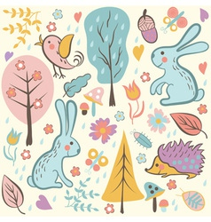 Cartoon forest seamless pattern vector image