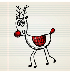 Christmas deer in doodle style vector image vector image