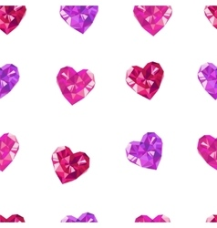 Crystal hearts white pattern vector image