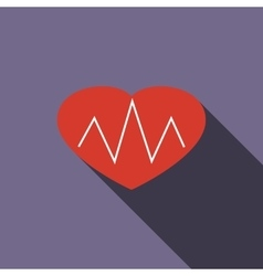 Heartbeat icon flat style vector image