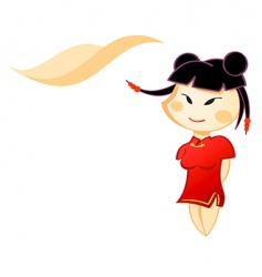 little Chinese girl vector image vector image