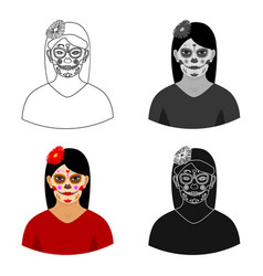 mexican woman with calavera make up icon in vector image
