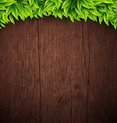 Natural background with wooden board and leaves vector image