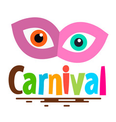 retro carnival icon with mask and eyes vector image