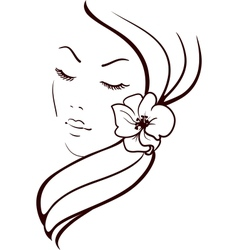 Woman Face with Beautiful Flower in Hair Sketch vector image