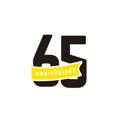 65 years anniversary number with yellow ribbon vector