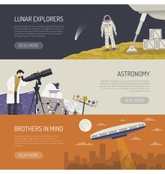 Astronomy Flat Horizontal Banners vector image