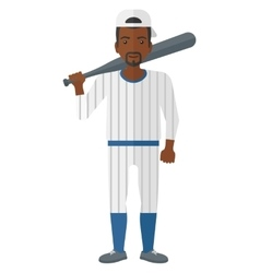 Baseball player standing with bat vector image