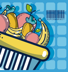 Basket with fruits super market products vector