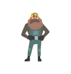 bearded miner standing with arms akimbo vector image