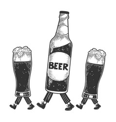 beer bottle glass cups walks on its feet sketch vector image