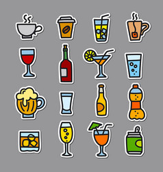 beverages stickers set vector image