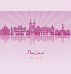 Bialystok skyline in purple radiant orchid vector