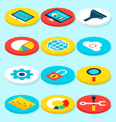 big data isometric icons vector image