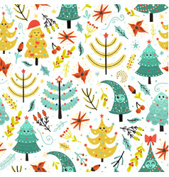 bright christmas seamless patterns with cute trees vector image