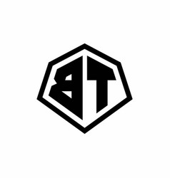 Bt monogram logo with hexagon shape and line vector