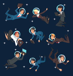 business people in astronaut helmets flying in vector image