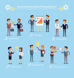 Business process infographics collection on blue vector