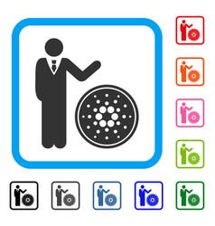 Businessman show cardano coin framed icon vector