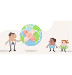 Cartoon man giving a sick planet to his children vector