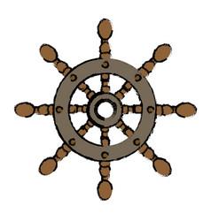 Cartoon pirate in a ship steering wheel design vector