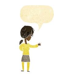 Cartoon woman gesturing with speech bubble vector