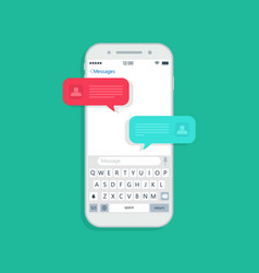 chat message in phone bubble for text in mobile vector image
