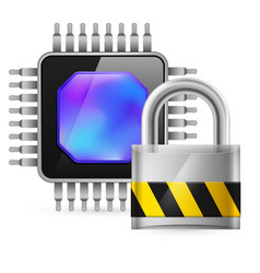 chip and padlock on white background vector image