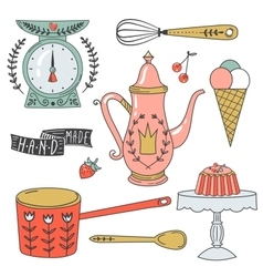 Colorful collection of baking items and sweets vector image