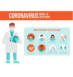Coronavirus covid-19 preventions tips vector