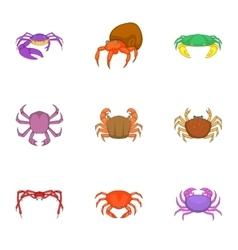 Crab sea animals icons set cartoon style vector