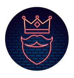 crown beard neon brick wall label vector image