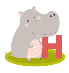 cute animal alphabet with hippo vector image