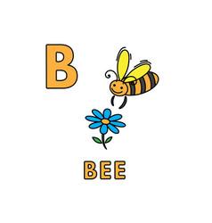 Cute cartoon animals alphabet bee vector