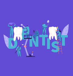 Dentist character clean big white tooth poster vector