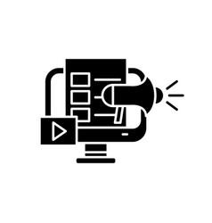 digital marketing black icon sign on vector image