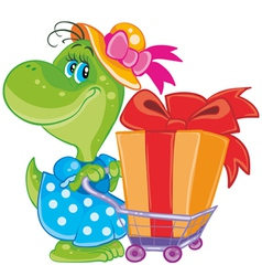 dinosaur with shopping vector image