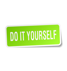 Do it yourself square sticker on white vector