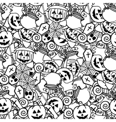 doodle halloween seamless pattern coloring vector image