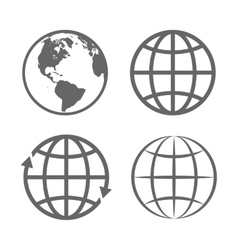 Earth Globe Emblem Logo Template Icon Set vector