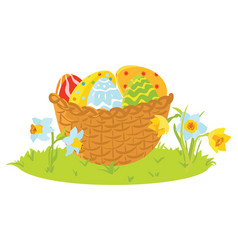 Easter decorative eggs in a basket with flowers vector