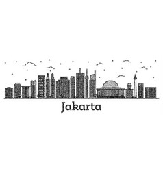 Engraved jakarta indonesia city skyline with vector